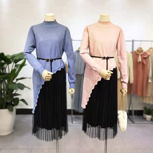 秋装甜美半高领针织斜边荷叶边针织上衣拼蕾丝连衣裙女两件套装
