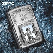 zippo正版打火机 天使还是魔鬼防风镜中人打火机美女骷髅男士