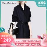 查看精选MeetMetro2019秋装流行黑色风衣女中长款小个子时尚外套最新价格