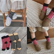 史豌豆儿童袜子纯棉条纹女宝宝可爱春秋时尚洋气保暖中筒袜