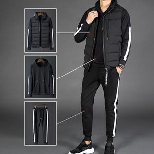 运动套装男春款三件套春秋季男士卫衣外套青少年帅气衣服潮