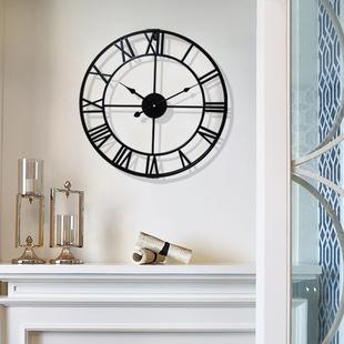 北欧现代简约创意时尚艺术客厅大挂钟 卧室美式铁艺家用静音挂表