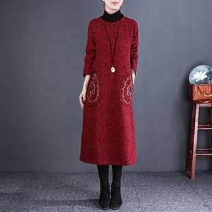 自然小铺 民族风女装加绒加厚棉麻连衣裙宽松中长款大码女装A字裙
