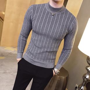 地平线男装 秋冬半高领纹路打底衫潮针织毛衣时尚简约款 9色