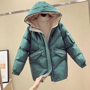 金丝绒棉衣女中长款2018冬季连帽面包服羽绒棉袄加厚外套