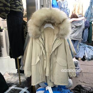 冬装大貉子毛领兔毛内胆外套可拆卸加厚保暖风衣皮草女装