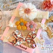 韩版宝宝头饰可爱儿童婴儿发带礼盒套装周岁生日公主百天拍照饰品