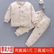 宝宝棉衣秋冬季新生儿衣服保暖0-1岁3初生2加厚冬装婴儿夹棉套装