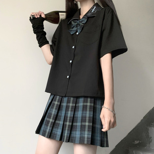 安可原创 暗黑骇客 夏季jk制服刺绣宽松短袖衬衫衬衣女