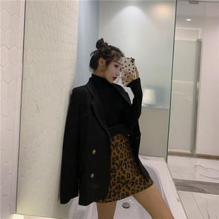 2018简约宽松中长款西装外套女秋冬chic长袖黑色西服