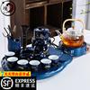 日式功夫茶具套装茶盘家用自动泡茶壶简约办公室陶瓷茶台婚庆