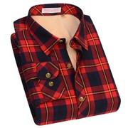 好派加绒加厚女士方格长袖保暖衬衫冬季纯棉红色格子保暖衬女