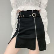 C&N欧美拉链开叉性感包臀裙半身裙金属扣收腰显瘦高腰短裙女