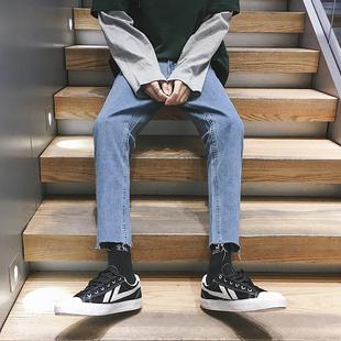 港风男生毛边浅色九分牛仔裤男宽松直筒潮流百搭学生网红裤子
