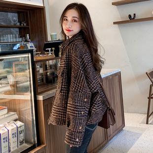 春秋格子毛呢外套女加厚短款韩版小个子气质显瘦粗花呢子大衣加棉