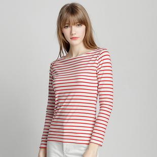 春季黑白条纹打底衫女长袖t恤棉百搭显瘦红色体恤一字领上衣