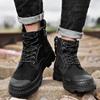 冬季马丁靴男加绒防水头层牛皮套筒工装靴英伦潮流保暖雪地棉靴男