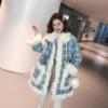冬季2018中长款羊羔毛拼接格子毛呢外套女chic宽松呢大衣