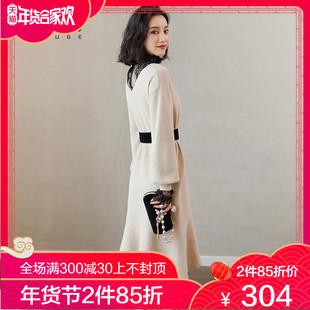 衣舒阁针织连衣裙女秋冬季2019春装毛衣裙子两件套装蕾丝长裙