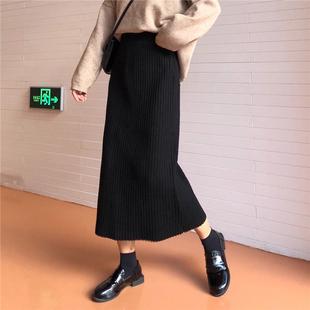 秋冬女装复古纯色宽松加厚坑条半身裙高腰A字裙长裙学生裙子