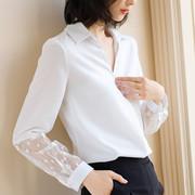 2019春装蕾丝拼接雪纺衬衣气质V领OL职业白色衬衫女长袖上衣