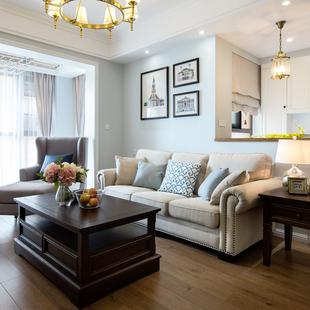 雅然居美式乡村布艺沙发小户型沙发组合沙发单双三人棉麻布艺沙发