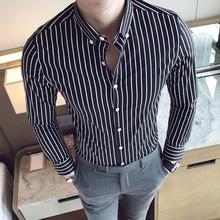男士条形衬衣春夏竖条纹型男潮流棉质cs衬衫黑白条单穿外穿称衫男