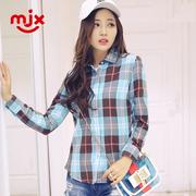 MJX格子衬衫女士长袖春秋季韩范磨毛打底衬衣外套百搭女装寸