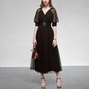 波点纱裙长裙气质收腰显瘦中长款黑色连衣裙女装夏装2021