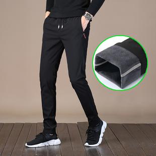冬季男士裤加绒加厚黑色小脚运动裤子男潮流