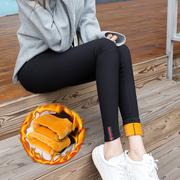 加绒加厚打底裤女外穿2020秋冬大码高腰紧身黑色小脚铅笔棉裤