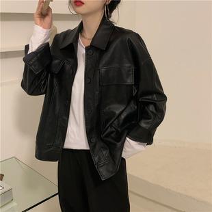 黑色小皮衣外套女春秋2021年春季宽松韩版短款机车夹克上衣潮