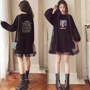 孕妇装春装韩版中长款加肥大码宽松卫衣长袖春季裙子潮妈