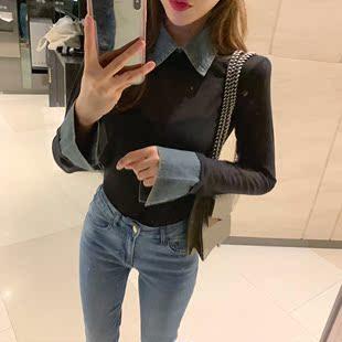 设计感时尚秋冬牛仔衬衫领拼接假两件套长袖打底衫上衣女
