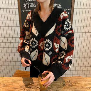 2018秋冬季复古宽松短款V领套头毛衣女显瘦长袖针织衫外套