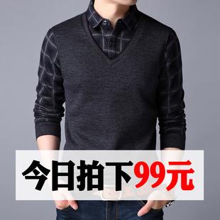 加绒衬衫男士长袖保暖冬2018加厚针织毛衣假两件爸爸打底衬衣