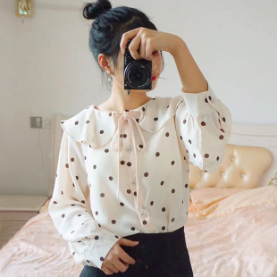 衬衫女长袖2019春季小清新荷叶边领波点雪纺衫漏锁骨系带上衣
