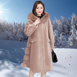 2018冬季大牌女装狐狸毛领皮草中长款大码羊剪绒外套大衣