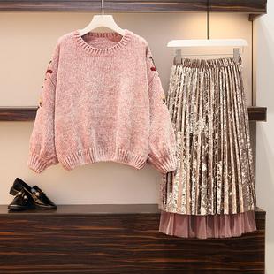 微胖妹妹秋冬网红毛衣裙子两件套加肥大码女装洋气减龄显瘦套装潮