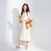 LAMMANN 法式触感设计条纹v领丝光棉孕妇连衣裙中长款夏ORISTA
