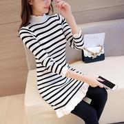 黑白条纹毛衣女2018秋冬外套外穿中长款打底衫针织连衣裙