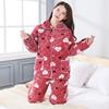 睡衣女冬季法兰绒珊瑚绒加厚加绒三层夹棉妈妈可爱秋冬棉袄家居服