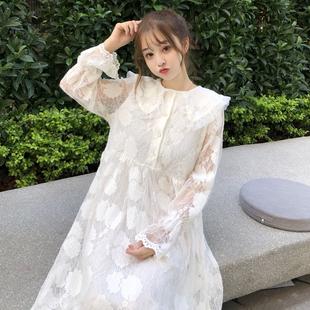 小清新长袖打底裙连衣裙女春装2019款气质显瘦中长款娃娃领蕾丝裙