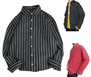 潮男胖子肥佬特大码加肥加大号165胸围360斤条纹显瘦长袖衬衫衬衣