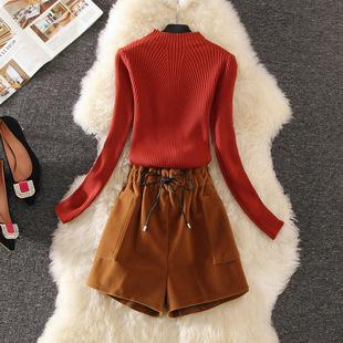 2018秋冬季小个子女生显瘦俏皮百搭套装针织衫短裤两件套