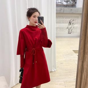 蓝语大码女装2018冬装微胖妹妹mm红色减龄遮肚连衣裙针织打底裙子
