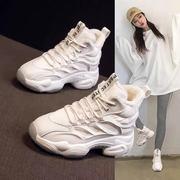 老爹鞋女潮2020冬季厚底内增高百搭加绒高帮运动休闲棉鞋