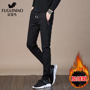 富贵鸟裤子男潮流运动裤男士黑色加绒长裤男生