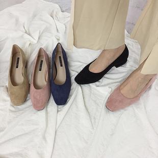 鞋子女2019方头绒面低跟平底套脚懒人工作OL小清新高跟单鞋