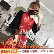 中国风改良旗袍少女红色敬酒服长袖复古刺绣连衣裙秋冬装2018